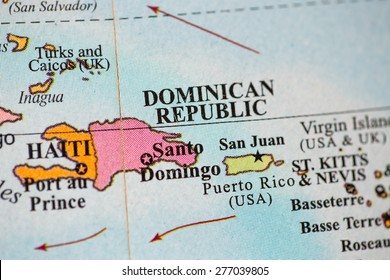 Map view of Dominican Republic on a geographical globe.