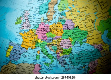 Map view of Europe on a geographical globe (vignette).