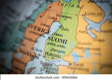 Map view of Finland on a geographical map. (vignette)