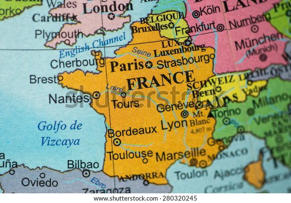 Geographical Map Of France.Map View France On Geographical Globe Stock Photo Edit Now 280320245