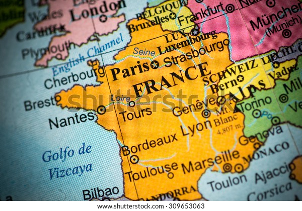 Geographical Map Of France.Map View France On Geographical Map Stock Photo Edit Now 309653063