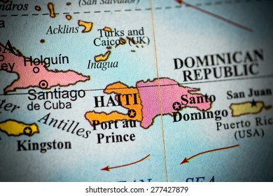 Map view of Haiti on a geographical globe. (vignette)