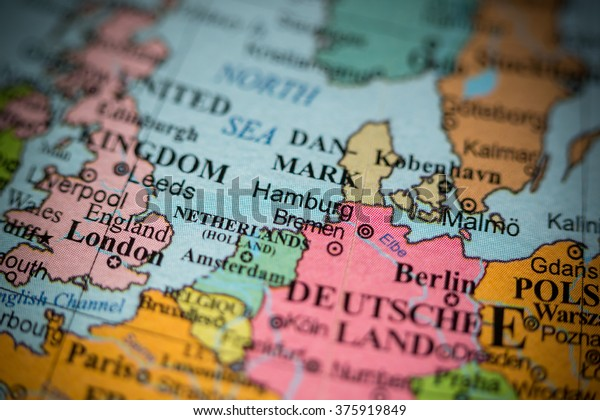 Geographical Map Of Germany.Map View Hamburg Germany On Geographical Stock Photo Edit Now