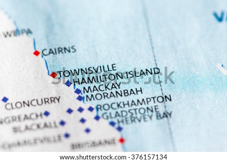 Hamilton Island Australia Map.Map View Hamilton Island On Geographical Stock Photo Edit Now