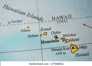 Map view of Hawaii on a geographical globe.