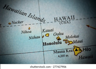 Map view of Hawaii on a geographical globe. (vignette)