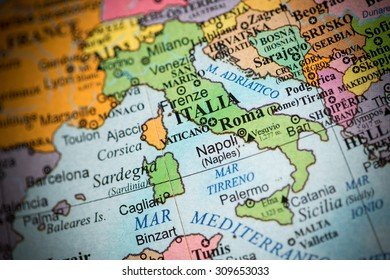 Map view of Italy on a geographical map. (vignette)