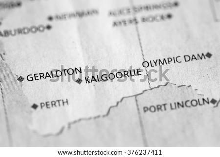 Kalgoorlie Australia Map.Map View Kalgoorlie On Geographical Map Stock Photo Edit Now