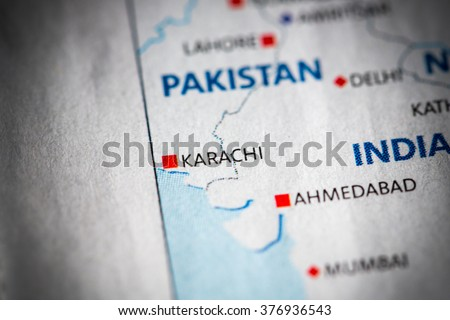 Map Of Asia Karachi.Map View Karachi Pakistan On Geographical Stock Photo Edit Now