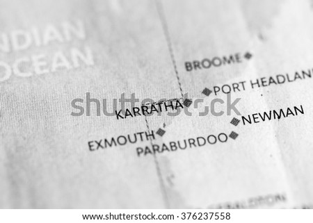 Australia Map Karratha.Map View Karratha On Geographical Map Stock Photo Edit Now