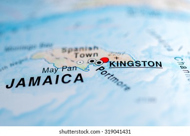 Map view of Kingston, Jamaica.