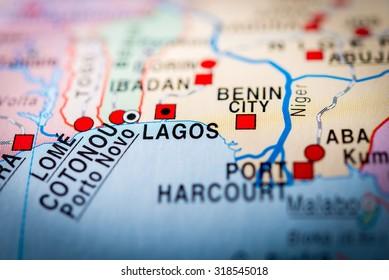 Map view of Lagos, Nigeria. (vignette)