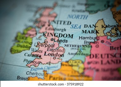 Map view of Leeds, UK on a geographical map of Europe.