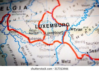 Map view of Luxembourg, Luxemburg. (vignette)