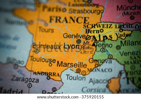 Map View Lyon France On Geographical Stock Photo Edit Now