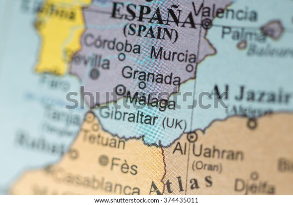 Map View Malaga Spain On Geographical Stock Photo (Edit Now ... Map Of Malaga Spain Area on costa del sol map, venice italy area map, cities in spain malaga map,