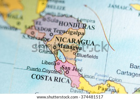 Map View Managua Nicaragua On Geographical Stockfoto (Jetzt ...