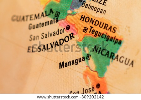 Map View Managua On Geographical Globe Stock Photo (Edit Now ...