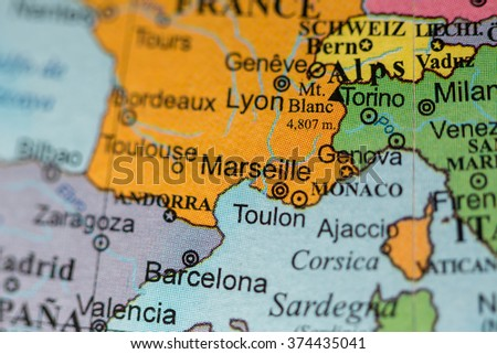 Map View Marseille France On Geographical Stock Photo Edit Now