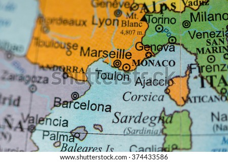 Map View Monaco On Geographical Map Stock Photo Edit Now 374433586