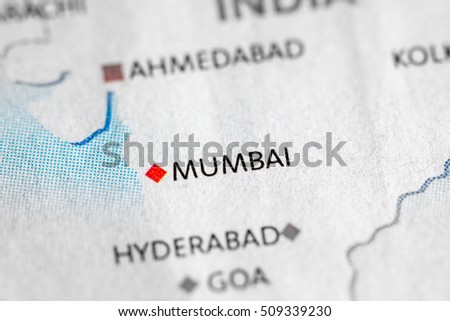 Mumbai On Map Of Asia.Map View Mumbai India On Geographical Stock Photo Edit Now