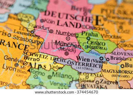 Map View Munich Germany On Geographical Stock Photo Edit Now