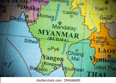 Map view of Myanmar on a geographical globe. (vignette)