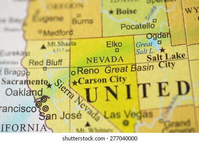 Map view of Nevada on a geographical globe.