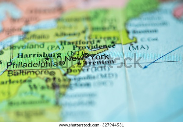Geographical Map Of New York.Map View New York City On Stock Photo Edit Now 327944531