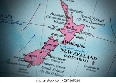 Map view of New Zealand on a geographical globe. (vignette)