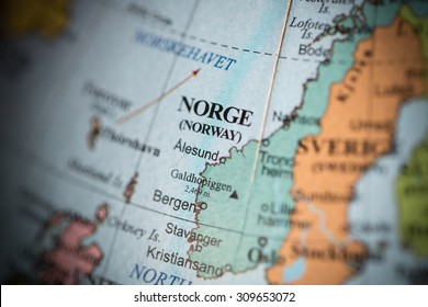 Map view of Norway on a geographical map. (vignette)