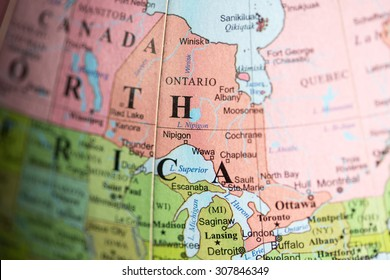 Map view of Ontario, Canada on a geographical map.