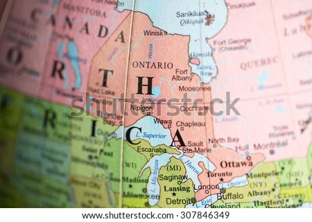 Map View Ontario Canada On Geographical Stock Photo (Edit ...