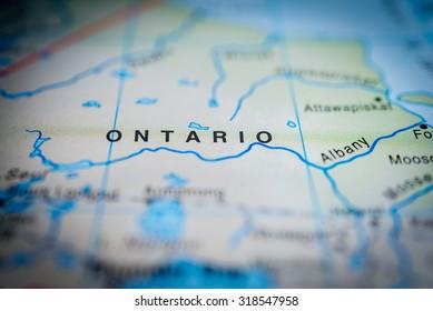 Map view of Ontario, Canada. (vignette)