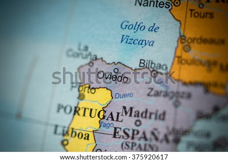 Map View Oviedo Spain On Geographical Stock Photo Edit Now