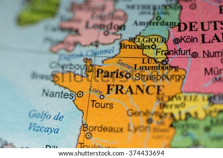 Map View Paris France On Geographical Stock Photo (Edit Now ...