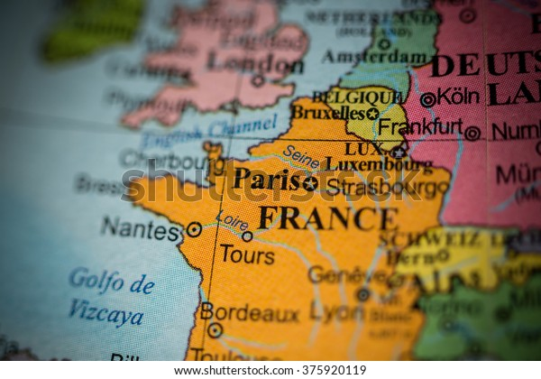 Geographical Map Of France.Map View Paris France On Geographical Stock Photo Edit Now 375920119