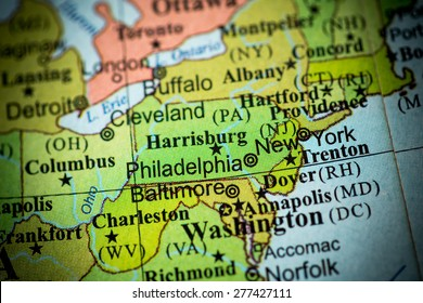 Map view of Pennsylvania on a geographical globe. (vignette)