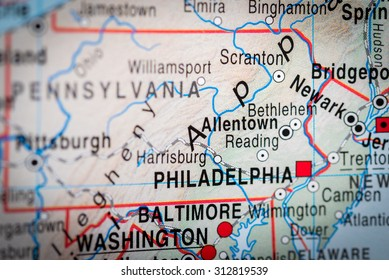 Map view of Philadelphia. (vignette)
