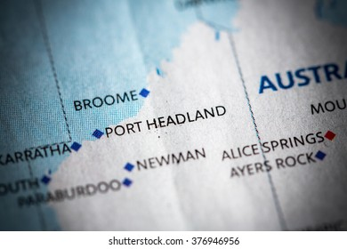 Map view of Port Headland on a geographical map of Australia.