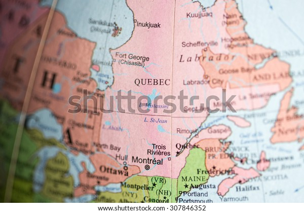 Map View Quebec Canada On Geographical Stock Photo (Edit Now ...