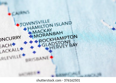 Map view of Rockhampton on a geographical map of Australia.