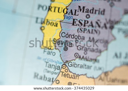 Map View Sevilla Spain On Geographical Stock Photo Edit Now