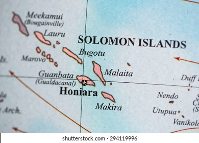 Map view of Solomon Islands on a geographical globe.