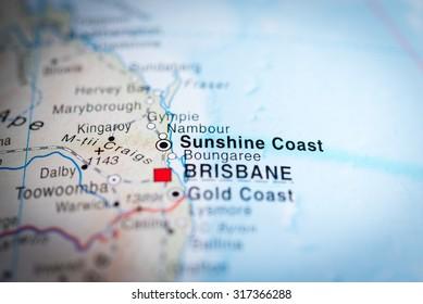 Map view of Sunshine Coast, Australia. (vignette)