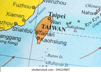 Map view of Taiwan on a geographical globe.