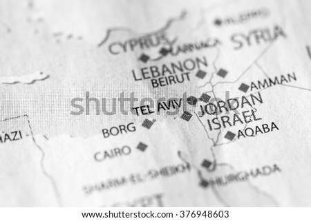 Tel Aviv Middle East Map.Map View Tel Aviv Israel On Stock Photo Edit Now 376948603
