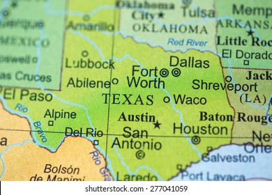 Map view of Texas on a geographical globe.