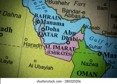 Map view of the United Arab Emirates on a geographical globe. (vignette)