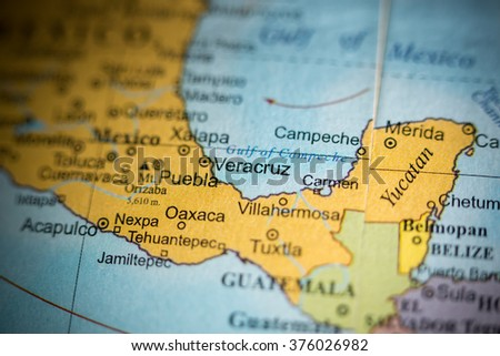 Map View Veracruz Mexico On Geographical Stock Photo Edit Now